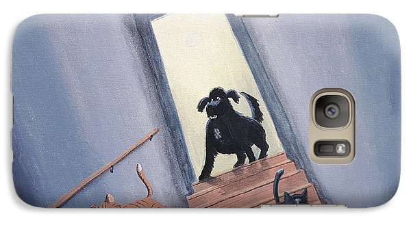 Lady Chases The Cats Down The Stairs Galaxy S7 Case