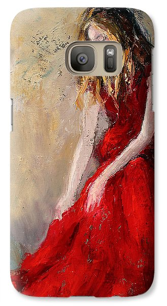 Galaxy Case featuring the painting Lady In Red 2 by Jennifer Beaudet