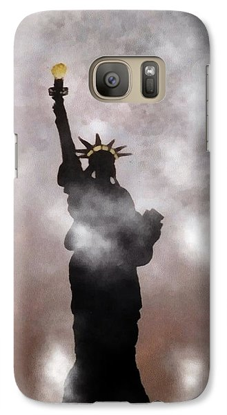Galaxy Case featuring the photograph Lady Liberty In Fog by Joseph Frank Baraba