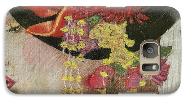Galaxy Case featuring the drawing Lady With Hat by Jacqueline Athmann