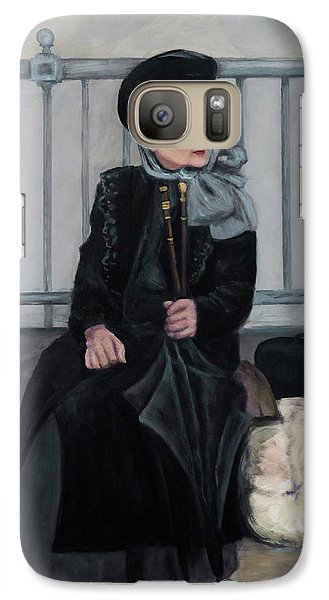 Galaxy Case featuring the painting Lady With Two Umbrellas by Sandra Nardone