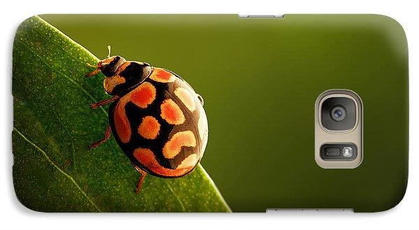 Ladybug  On Green Leaf Galaxy Case by Johan Swanepoel