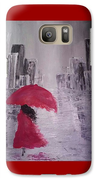Galaxy Case featuring the painting Laidy In The City Abstract Art by Sheila Mcdonald