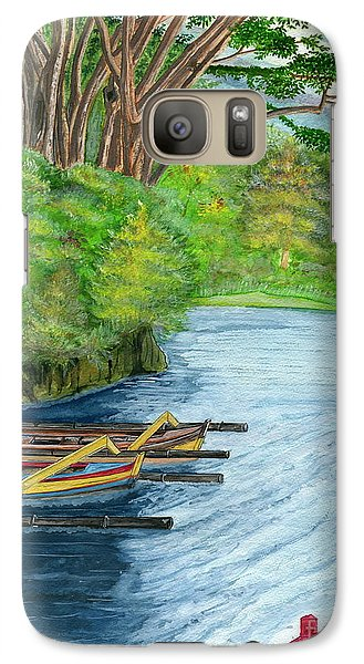 Galaxy Case featuring the painting Lake Bratan Boats Bali Indonesia by Melly Terpening