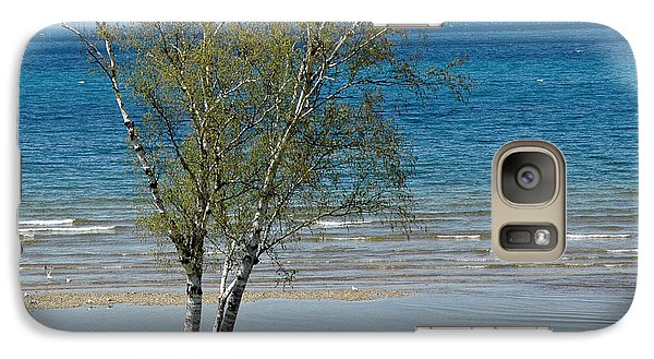 Galaxy Case featuring the photograph Lake Michigan Birch Tree Bench by LeeAnn McLaneGoetz McLaneGoetzStudioLLCcom