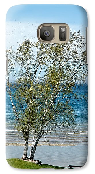 Galaxy Case featuring the photograph Lake Michigan Birch Tree by LeeAnn McLaneGoetz McLaneGoetzStudioLLCcom