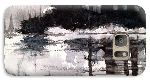 Galaxy Case featuring the painting Lake Placid Black And White Study by Charlie Spear
