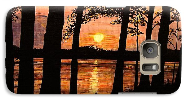 Galaxy Case featuring the painting Lake Sunset by Patricia L Davidson