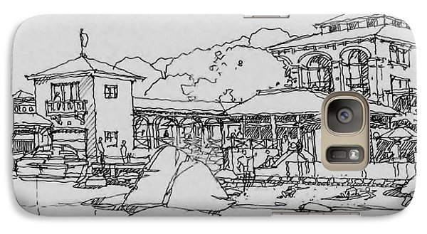 Galaxy Case featuring the drawing Lakefront Residence by Andrew Drozdowicz