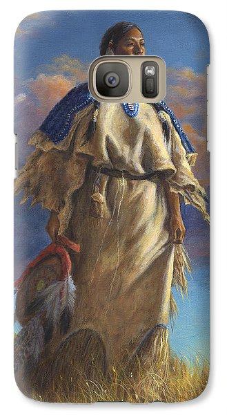 Galaxy Case featuring the painting Lakota Woman by Kim Lockman