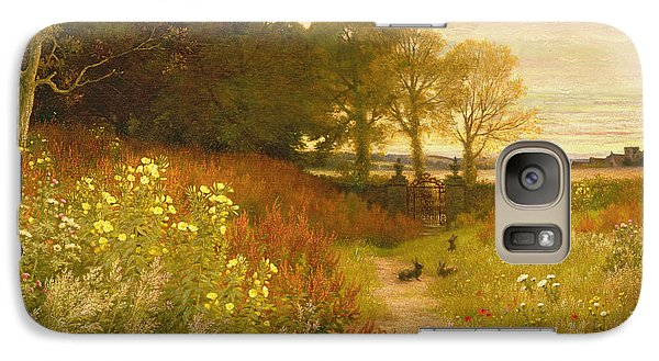 Rural Scenes Galaxy S7 Case - Landscape With Wild Flowers And Rabbits by Robert Collinson