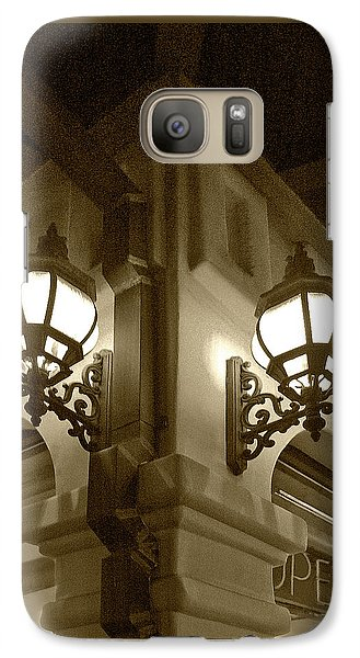 Galaxy Case featuring the photograph Lanterns - Night In The City - In Sepia by Ben and Raisa Gertsberg