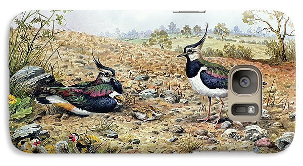 Lapwing Galaxy S7 Case - Lapwing Family With Goldfinches by Carl Donner