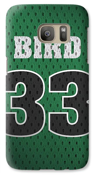 Larry Bird Boston Celtics Retro Vintage Jersey Closeup Graphic Design Galaxy S7 Case by Design Turnpike