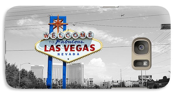 Galaxy Case featuring the photograph Las Vegas Welcome Sign Color Splash Black And White by Shawn O'Brien