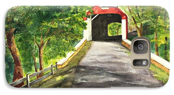 Galaxy Case featuring the painting Late Afternoon At Knechts Covered Bridge   by Lucia Grilletto