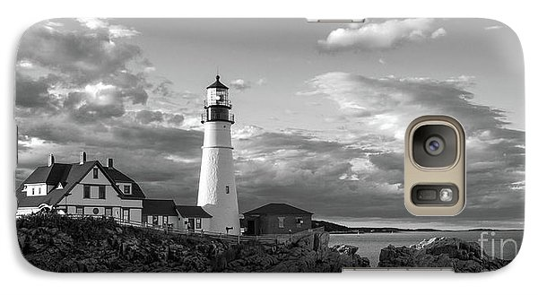 Galaxy Case featuring the photograph Late Afternoon Clouds, Portland Head Light  -98461 by John Bald