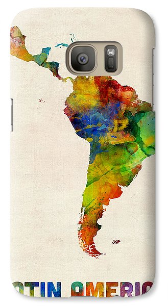 Galaxy Case featuring the digital art Latin America Watercolor Map by Michael Tompsett