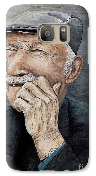 Galaxy Case featuring the painting Laughing Old Man by Judy Kirouac