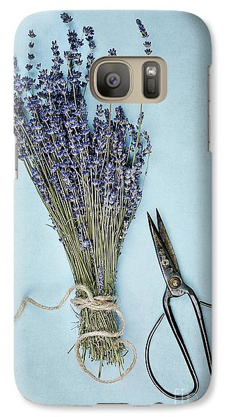 Galaxy Case featuring the photograph Lavender And Antique Scissors by Stephanie Frey