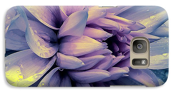 Galaxy Case featuring the photograph Lavender And Pink Dahlia And Water Drops by Julie Palencia