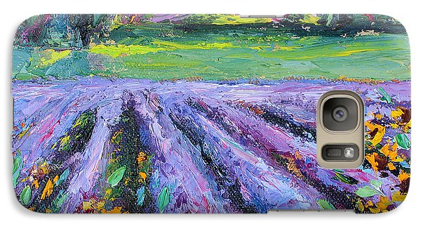 Galaxy Case featuring the painting Lavender And Sunflowers In Bloom by Jennifer Beaudet