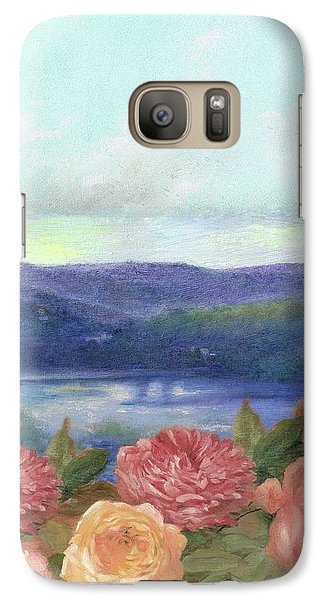 Galaxy Case featuring the painting Lavender Morning With Roses by Judith Cheng