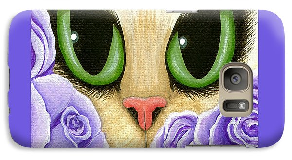 Galaxy Case featuring the painting Lavender Roses Cat - Green Eyes by Carrie Hawks