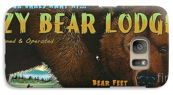 Galaxy Case featuring the painting Lazy Bear Lodge Sign by Wayne McGloughlin
