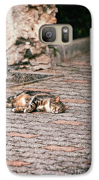 Galaxy Case featuring the photograph Lazy Cat    by Silvia Ganora