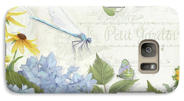 Galaxy Case featuring the painting Le Petit Jardin 2 - Garden Floral W Dragonfly, Butterfly, Daisies And Blue Hydrangeas by Audrey Jeanne Roberts
