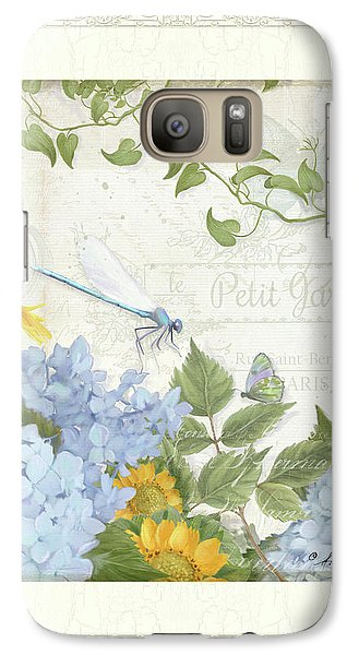 Galaxy Case featuring the painting Le Petit Jardin 2 - Garden Floral W Dragonfly, Butterfly, Daisies And Blue Hydrangeas W Border by Audrey Jeanne Roberts
