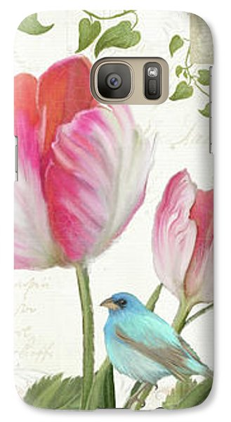 Galaxy Case featuring the painting Le Petit Jardin - Collage Garden Floral W Butterflies, Dragonflies And Birds by Audrey Jeanne Roberts
