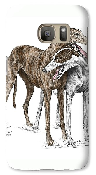 Galaxy Case featuring the drawing Lean On Me - Greyhound Dogs Print Color Tinted by Kelli Swan