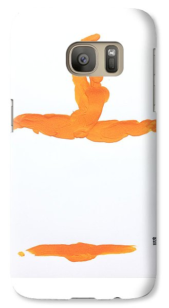 Galaxy Case featuring the painting Leap Brush Orange 1 by Shungaboy X
