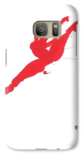 Galaxy Case featuring the painting Leap Brush Red 3 by Shungaboy X