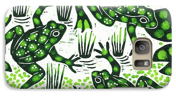Leaping Frogs Galaxy Case by Nat Morley