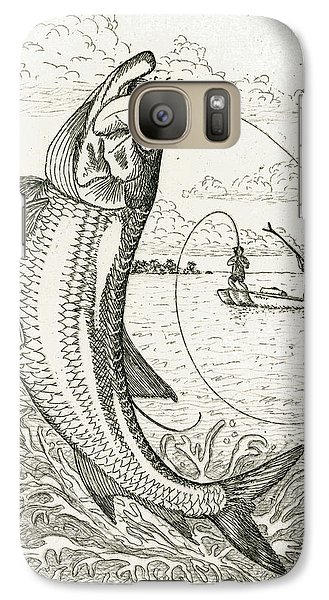 Galaxy Case featuring the drawing Leaping Tarpon by Charles Harden