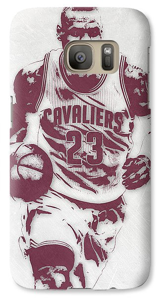 Lebron James Cleveland Cavaliers Pixel Art 4 Galaxy Case by Joe Hamilton