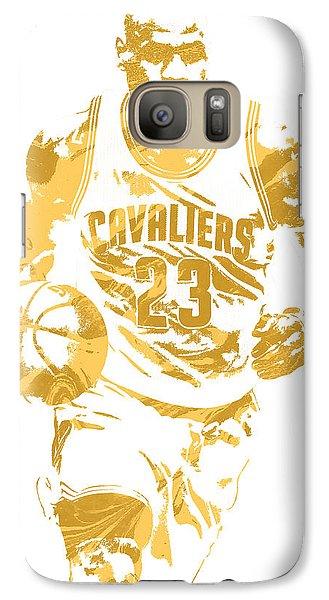 Lebron James Cleveland Cavaliers Pixel Art 7 Galaxy Case by Joe Hamilton