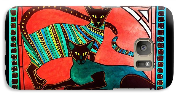 Galaxy Case featuring the painting Legend Of The Siamese - Cat Art By Dora Hathazi Mendes by Dora Hathazi Mendes