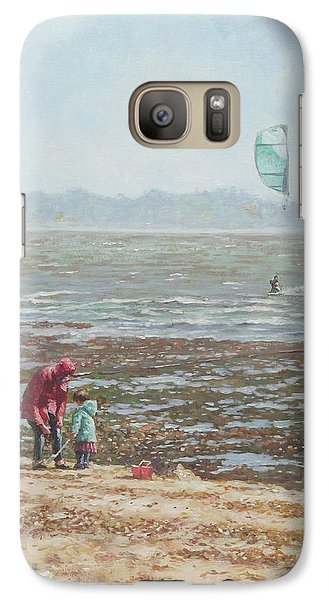 Galaxy Case featuring the painting Lepe Beach Windy Winter Day by Martin Davey