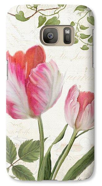Les Magnifiques Fleurs I - Magnificent Garden Flowers Parrot Tulips N Indigo Bunting Songbird Galaxy S7 Case