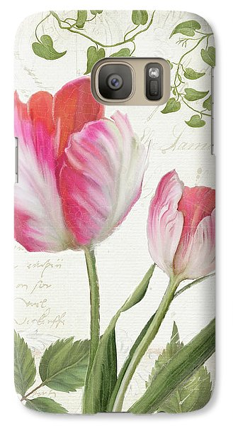 Les Magnifiques Fleurs IIi - Magnificent Garden Flowers Parrot Tulips N Indigo Bunting Songbird Galaxy Case by Audrey Jeanne Roberts