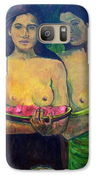 Galaxy Case featuring the painting Les Seins Aux Fleurs Rouges by Tom Roderick