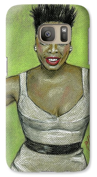 Galaxy Case featuring the drawing Leslie Jones by P J Lewis