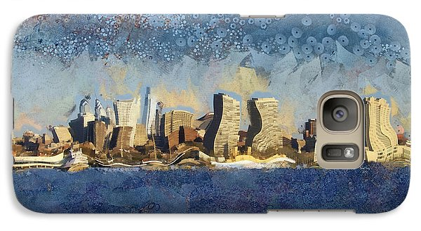Galaxy Case featuring the mixed media Less Wacky Philly Skyline by Trish Tritz