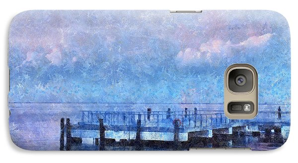 Galaxy Case featuring the mixed media Lewes Pier by Trish Tritz