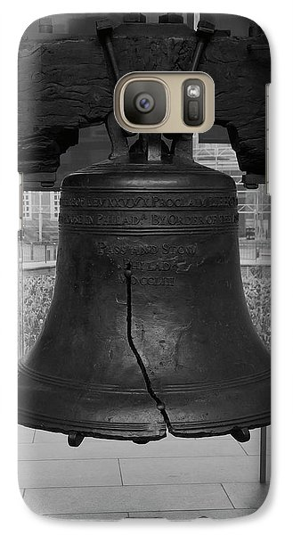 Galaxy Case featuring the digital art Liberty Bell Bw by Chris Flees