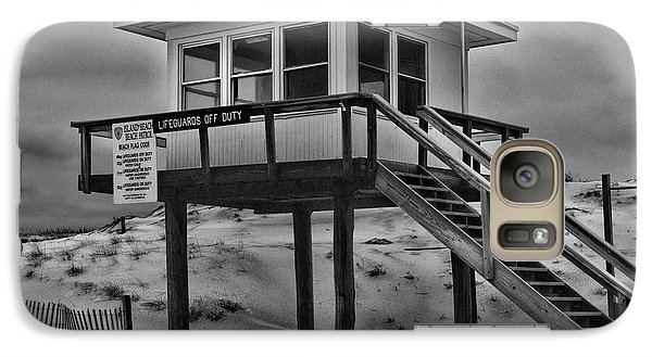 Galaxy Case featuring the photograph Lifeguard Station 2 In Black And White by Paul Ward